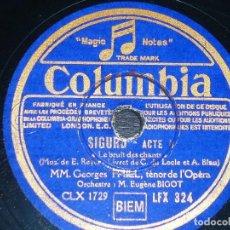 Discos de pizarra: DISCO 78 RPM - COLUMBIA - GEORGES THILL - TENOR - MIREILLE - GOUNOD - OPERA - SIGURD - PIZARRA. Lote 202686497