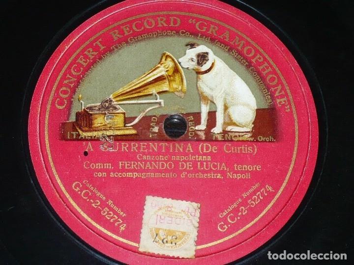 DISCO 78 RPM - GCR RED - FERNANDO DE LUCIA - TENOR - A SURRENTINA - DE CURTIS - OPERA - PIZARRA (Música - Discos - Pizarra - Clásica, Ópera, Zarzuela y Marchas)