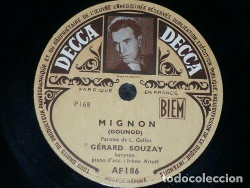 Discos de pizarra: DISCO 78 RPM - DECCA FOTO - GERARD SOUZAY - MIGNON - GOUNOD - OPERA - IRENE AITOFF - PIANO - PIZARRA - Foto 2 - 202689412