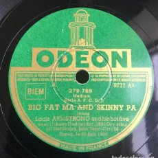 Discos de pizarra: DISCO PIZARRA.LOUIS ARMSTRONG: SWEET LITTLE PAPA / BIG FAT MA AND SKINNIN PA . ODEON RECORDS.. Lote 203426850