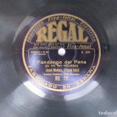 Discos de pizarra: JOSE MUÑOZ (PENA HIJO) SI YO NO TUVIERA / ALLI FUERON MIS QUEBRANTOS (REGAL RS 711). Lote 204552333