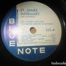 Discos de pizarra: DISCO PIZARRA . ART HODES´ HOT FIVE . ST. JAMES INFIRMARY / WAY DOWN YONDER IN NEW ORLEANS .. Lote 204594422