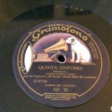 Discos de pizarra: DISCO DE GRAMÓFONO 31CM. QUINTA SINFONÍA. ORQUESTA ROYAL ALBERT HALL DE LONDRES AB. 36. Lote 204594141