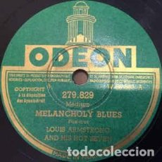 Discos de pizarra: DISCO DE PIZARRA. LOUIS ARMSTRONG AND HIS HOT SEVEN. KEYHOLE BLUES / MELANCHOLY BLUES.. Lote 204595576