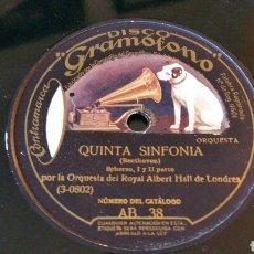 Discos de pizarra: DISCO DE GRAMÓFONO 31 CM. QUINTA SINFONÍA - ORQUESTA DEL ROYAL ALBERT HALL DE LONDRES. AB 38.. Lote 204597452