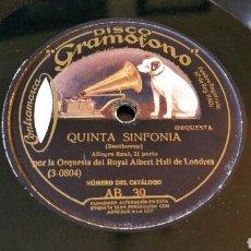 Discos de pizarra: DISCO DE GRAMÓFONO 31CM. - QUINTA SINFONÍA - ORQUESTA DEL ROYAL ALBERT HALL - AB 39.. Lote 204598273