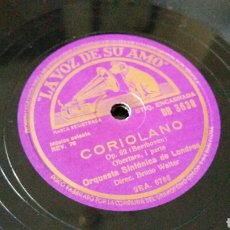 Discos de pizarra: DISCO DE GRAMÓFONO 31CM. - CORIOLANO • OP. 62 (BEETHOVEN) ORQUESTA SINFÓNICA DE LONDRES - DB. 3638. Lote 204652391