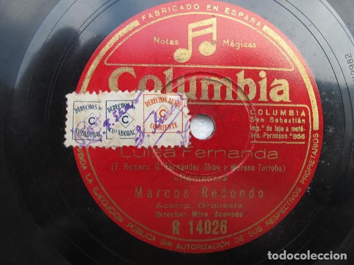 MARCOS REDONDO (LUISA FERNANDA) ROMANZAS / DUO DE LA MONTARAZA (COLUMBIA R 14026 (Música - Discos - Pizarra - Clásica, Ópera, Zarzuela y Marchas)