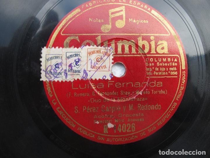 Discos de pizarra: MARCOS REDONDO (LUISA FERNANDA) ROMANZAS / DUO DE LA MONTARAZA (COLUMBIA R 14026 - Foto 2 - 204686405