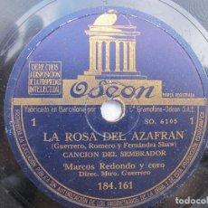 Discos de pizarra: MARCOS REDONDO (LA ROSA DEL AZAFRAN) CANCION DEL SEMBRADOR / NOCTURNO-RONDA ( ODEON 184.161). Lote 204686755