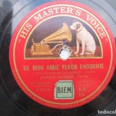 Discos de pizarra: ENRICO CARUSO / SERENADE DE DON JUAN / DE MON AMIE FLEUR ENDORMIE (HIS MASTER'S VOICE D.A 114). Lote 204687740