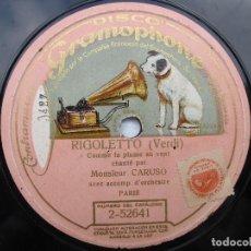 Discos de pizarra: MONSIEUR CARUSO (RIGOLETO) COMME LA PLUME AU VENT (GRAMOPHONE 2-52641) MONOFACIAL. Lote 204688047