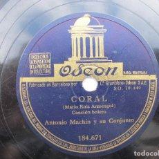 Discos de pizarra: ANTONIO MACHN / UN ANGEL FUE / CORAL (ODEON 184.671. Lote 204689745