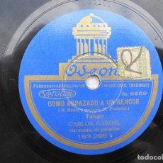 Discos de pizarra: CARLOS GARDEL / LUCES DE BUENOS AIRES / COMO ABRAZADO A UN RENCOR (ODEON 183.295). Lote 204690286