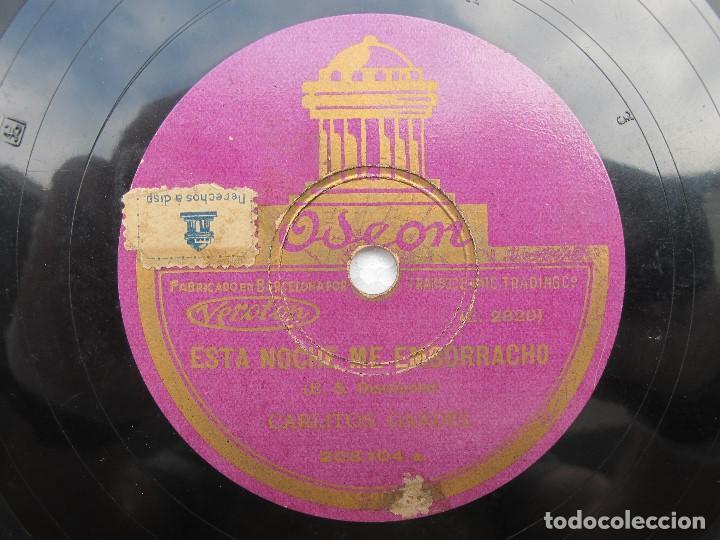 CARLOS GARDEL / EL CARRERITO / ESTA NOCHE ME EMBORRACHO (ODEON 203.104) (Música - Discos - Pizarra - Solistas Melódicos y Bailables)