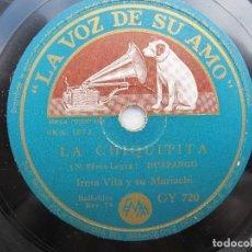 Discos de pizarra: IRMA VILA Y SU MARIACHI / QUE LINDO ES MICHO-CAN / LA CHIQUITITA (LA VOZ DE SU AMO GY 720). Lote 204692040