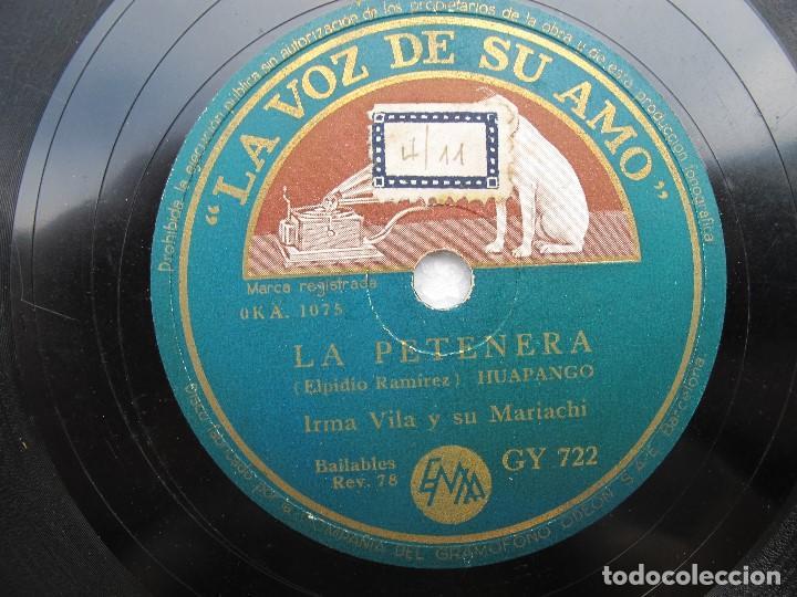 IRMA VILA Y SU MARIACHI / MEJICO LINDO / LA PETENERA (LA VOZ DE SU AMO GY 722) (Música - Discos - Pizarra - Solistas Melódicos y Bailables)