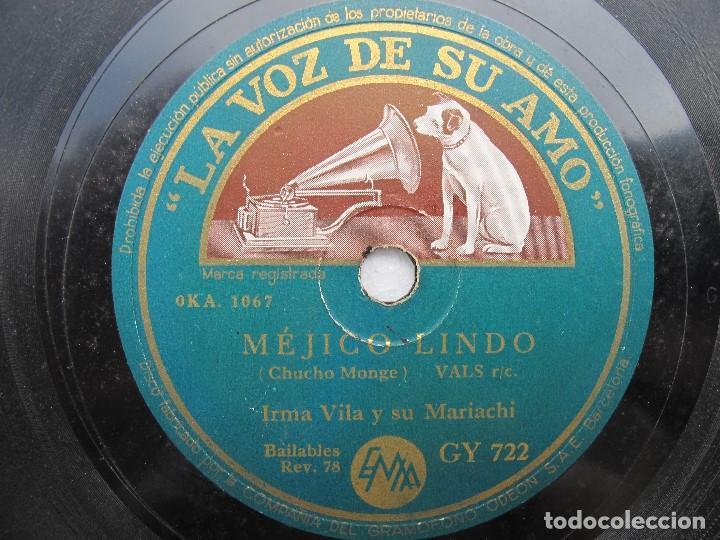 Discos de pizarra: IRMA VILA Y SU MARIACHI / MEJICO LINDO / LA PETENERA (LA VOZ DE SU AMO GY 722) - Foto 2 - 204693176