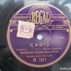 Discos de pizarra: BANDURRISTA ANTONIO SAENZ FERRER / ANDALUZA / CADIZ (REGAL PK 1511). Lote 204694647