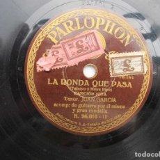 Discos de pizarra: JUAN GARCIA / LA RONDA QUE PASA / PIROPO BATURRO - SARRIONERA (PARLOPHON 26'010). Lote 204695011