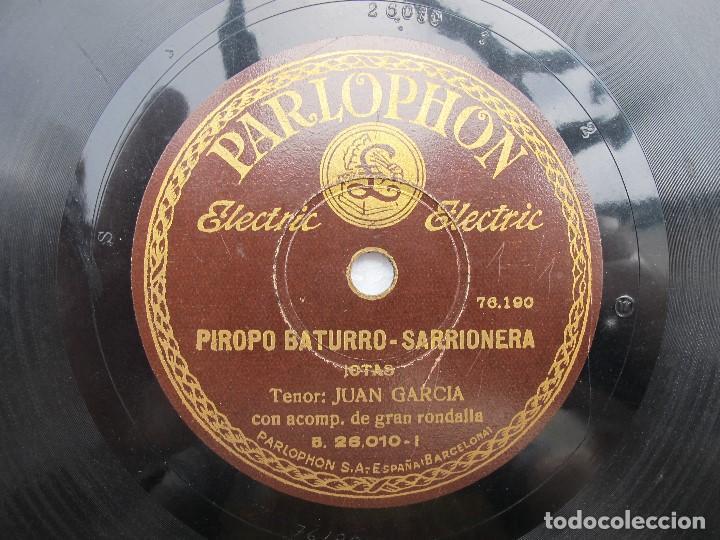 Discos de pizarra: JUAN GARCIA / LA RONDA QUE PASA / PIROPO BATURRO - SARRIONERA (PARLOPHON 26010) - Foto 2 - 204695011