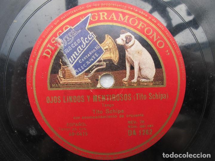 Discos de pizarra: TITO SCHIPA / OJOS LINDOS Y MISTERIOSOS / CONFESION (GRAMOFONO DA 1262) - Foto 2 - 204697445