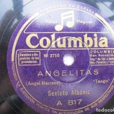 Discos de pizarra: SEXTETO ALBENIZ / FARRUCA GITANA / ANGELITAS (COLUMBIA A 817). Lote 204698215