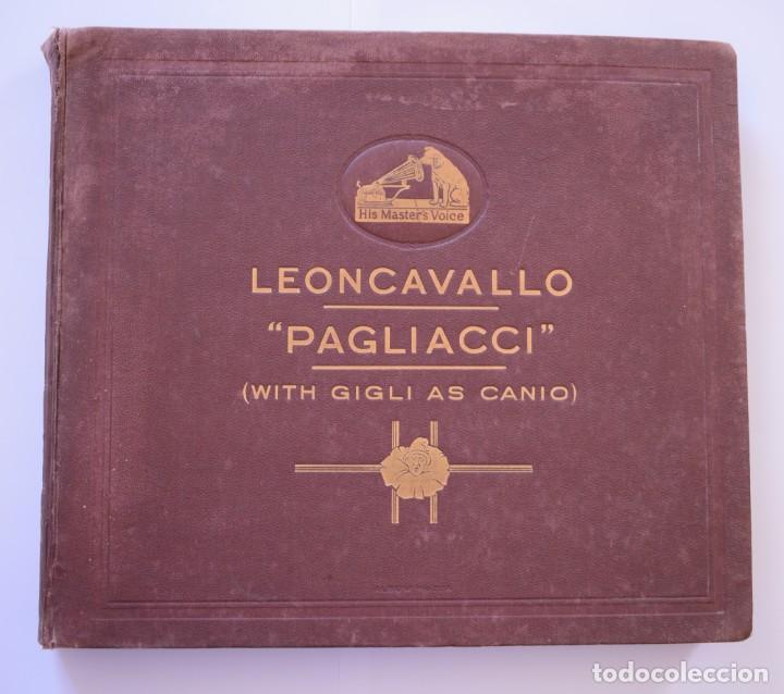ALBUM DISCOS PIZARRA 30 CM - PAGLIACCI (LEONCAVALLO) - HIS MASTERS VOICE - AÑOS 40 (Música - Discos - Pizarra - Clásica, Ópera, Zarzuela y Marchas)