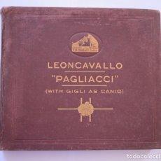 Discos de pizarra: ALBUM DISCOS PIZARRA 30 CM - PAGLIACCI (LEONCAVALLO) - HIS MASTER'S VOICE - AÑOS 40. Lote 204719350