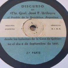 Discos de pizarra: DISCURSO HISTORICO REPÚBLICA AÑO 1931. Lote 204802503