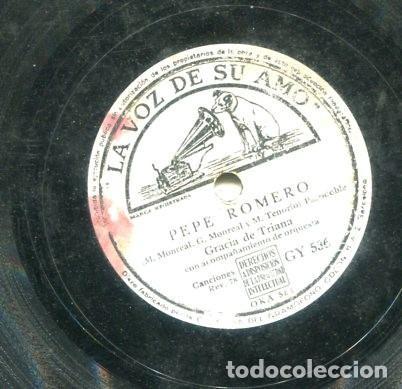 Discos de pizarra: GRACIA DE TRIANA / EL CABALLITO / PEPE ROMERO (LA VOZ DE SU AMO GY 536) - Foto 2 - 205090423