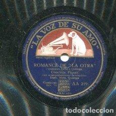 Discos de pizarra: CONCHITA PIQUER / ROMANCE DE LA OTRA / LOLA CLAVIJO (LA VOZ DE SU AMO AA 219). Lote 205091758