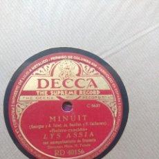 Discos de pizarra: DISCO DE PIZARRA : LYS ASSIA : MINUIT + MADEMOISSELLE DE PARIS. Lote 205115911