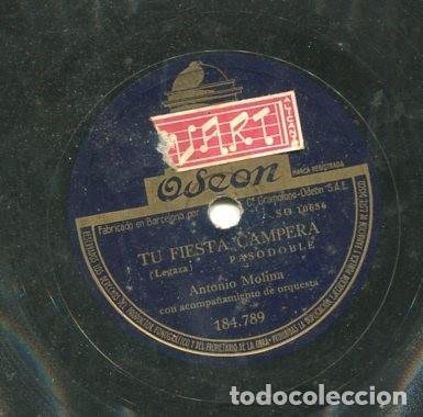 ANTONIO MOLINA / TU FIESTA CAMPERA / MARIA DE LOS DOLORES (ODEON 184.789) (Música - Discos - Pizarra - Flamenco, Canción española y Cuplé)