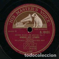 Discos de pizarra: DISCO PIZARRA. JELLY ROLL MORTON´S RED HOT PEPPERS. KAMSAS CITY STOMPS / SHOE SHINER´S DRAG ... Lote 205301838