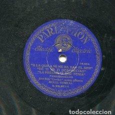 Discos de pizarra: CURRUCO (JOSE RUIZ) / EL QUE CORRIA EL MUNDO ERRANTE / LA PREGUNTE... (PARLOPHON B.25.611). Lote 205758951