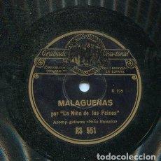 Discos de pizarra: NIÑA DE LOS PEINES / MALAGUEÑAS / PETENERAS (REGAL RS 551). Lote 205764471