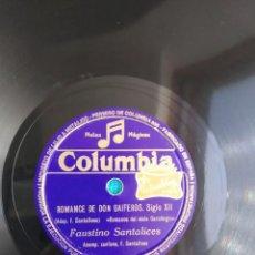 Discos de pizarra: FAUSTINO SANTALICES ROMANCE DE DON GAIFEROS GALICIA GALIZA ZANFOÑA. Lote 205895085