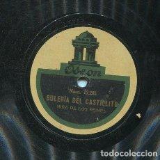 Discos de pizarra: NIÑA DE LOS PEINES / BULERIA DEL CASTILLITO / SOLEA (ODEON 13.264). Lote 206252658