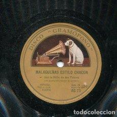 Discos de pizarra: NIÑA DE LOS PEINES / MALAGUEÑAS ESTILO CHACON / SEVILLANAS (GRAMOFONO AG 73). Lote 206253608
