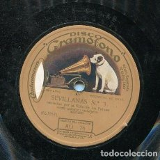 Discos de pizarra: NIÑA DE LOS PEINES / SEGUIDILLAS GITANAS / SEVILLANAS Nº 3 (GRAMOFONO AG 76). Lote 206254367