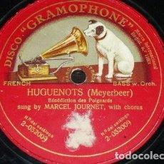 Discos de pizarra: DISCO 78 RPM - GRAMOPHONE - MARCEL JOURNET - CORO - HUGUENOTS - MEYERBEER - OPERA - PIZARRA. Lote 206267648