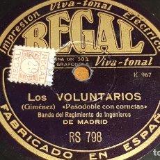 Discos de pizarra: PIZARRA !! BANDA REGIMIENTO DE INGENIEROS DE MADRID / LOS VOLUNTARIOS-ESPAÑA CAÑI / 25 CM. Lote 206479117