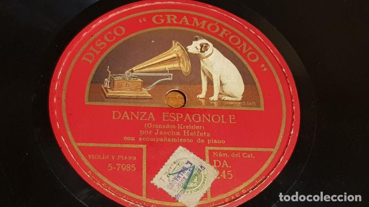 PIZARRA !! JASCHA HEIFETZ / DANZA ESPAGNOLE-UNGARISCHE TANZE / 25 CM. (Música - Discos - Pizarra - Otros estilos)