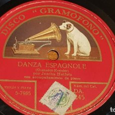 Discos de pizarra: PIZARRA !! JASCHA HEIFETZ / DANZA ESPAGNOLE-UNGARISCHE TANZE / 25 CM.. Lote 206480218