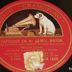 Discos de pizarra: PIZARRA !! MISCHA ELMAN / CAPRICHO EN MI BEMOL MAYOR-VOCALISE / 25 CM. Lote 206483092
