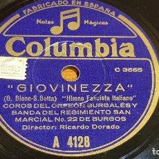 Discos de pizarra: PIZARRA !! COROS DEL ORFEÓN BURGALÉS Y BANDA REGIMIENTO SAN MARCIAL 22 DE BURGOS / LEER. Lote 206484338