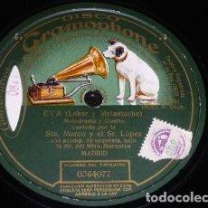 Discos de pizarra: DISCO 78 RPM - GRAMOPHONE - MARCO - SOPRANO - LOPEZ - TENOR - EVA - LEHAR - OPERA - PIZARRA. Lote 206811626