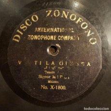 Discos de pizarra: DISCO 78 RPM - ZONOFONO - MIELI - TENOR - VESTI LA GIUBBA - IL PAGLIACCI - OPERA - RARO - PIZARRA. Lote 206812496