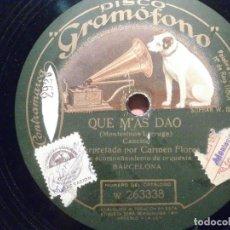 Discos de pizarra: DISCO PIZARRA GRAMÓFONO W 263338/9 - CARMEN FLORES - QUE MAS DAO - LA PÍCARA NEURASTENIA. Lote 206939021